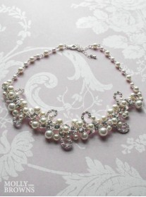 Silver Diamante Beaded Pearl Necklace