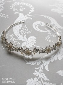 Silver Flower Crystal Beaded Head Band