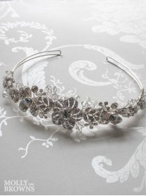 Silver Flower Crystal Head Band