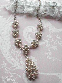 Silver Pearl Cluster Necklace