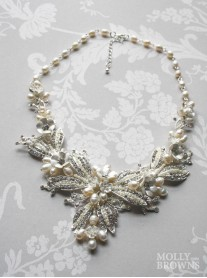 Diamante Beaded Gold Flower Statement Necklace