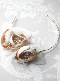 Gold Diamante & Blush Flower Head Band