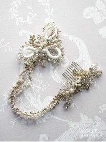 Gold Pearl & Diamante Hairpiece