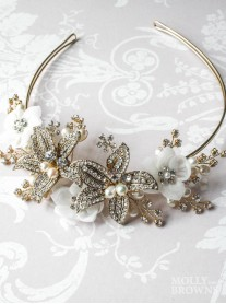 Gold Pearl & Diamante White Flower Head Band