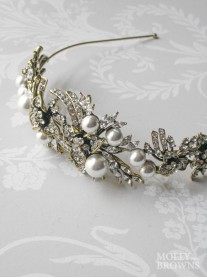Pearl & Diamante Gold Head Band
