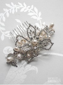 Silver Diamante Beaded Flower Hair Clip