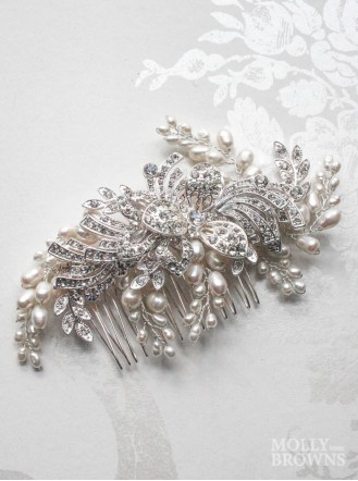 Silver Diamante Beaded Leaf Hair Clip