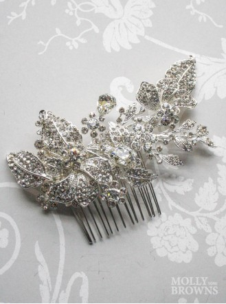 Silver Diamante Crystal Leaf Hair Clip