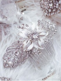 Silver Diamante Flower Hair Clip