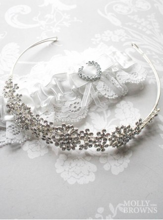 Silver Diamante Flower Head Band