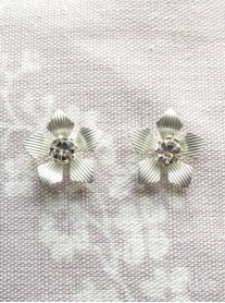 Silver Diamante Flower Stud Earrings