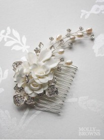 Silver Diamante Ivory Flower Hair Clip