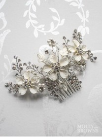 Silver Diamante Ivory Flowers Hair Clip
