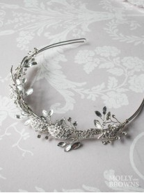 Silver Diamante Leaf Head Band
