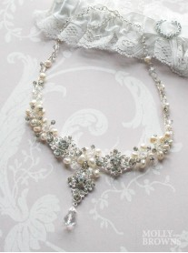 Silver Diamante & Pearl Flower Drop Necklace