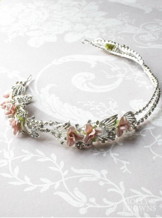 Silver Diamante Pink Flower Head Band
