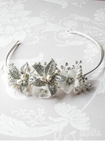 Silver Flower Pearl & Diamante Head Band