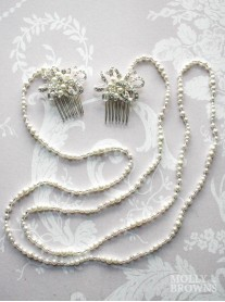 Silver Pearl Strand Hairpiece