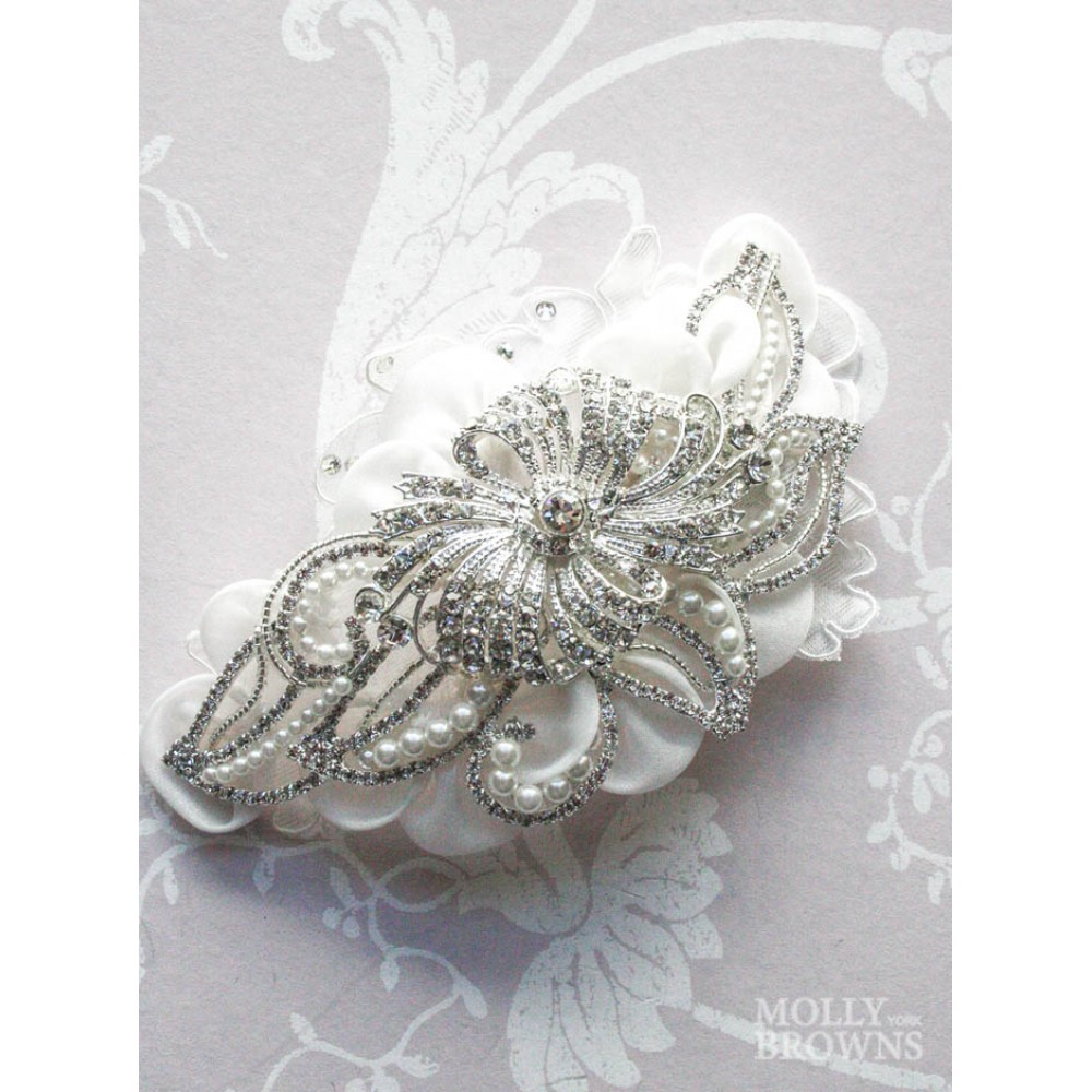 Silver Pearl White Flower Hair Clip Wedding Jewellery By Molly
