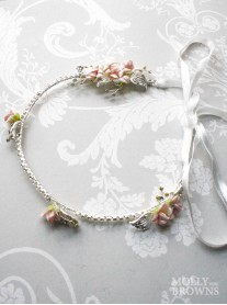 Silver Diamante Pink Flower Head Band with Ribbon