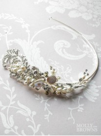 Silver Swirl Pearl & Diamante Head Band
