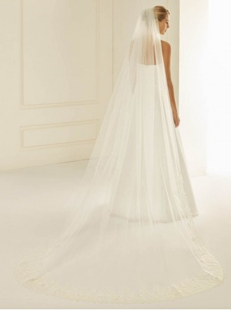 Wedding Veil 2F - Cathedral Length & Lace (Ivory)