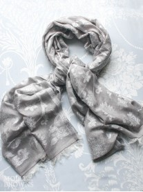 Floral Pattern Scarf - Silver