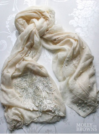 Floral & Pearl Embellished Scarf - Cream