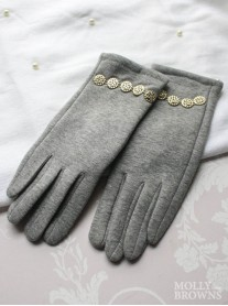 Gold Embellished Gloves - Grey