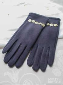 Gold Embellished Gloves - Navy