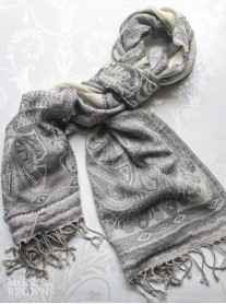 Paisley Pattern Scarf - Silver
