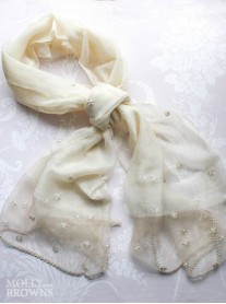 Pearl Embellished Scarf - Cream