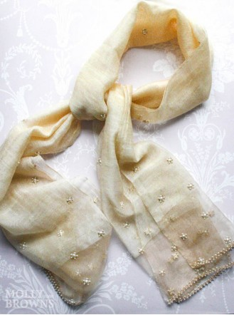 Pearl Embellished Scarf - Gold