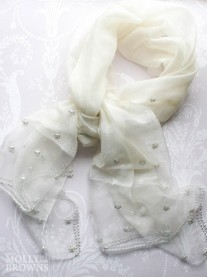 Pearl Embellished Scarf - Ivory