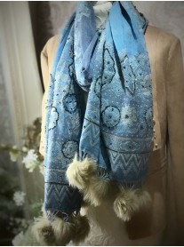 Faux Fur Pom Pom Beaded Scarf - Blue