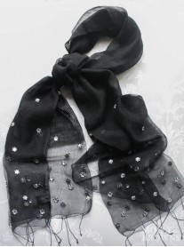 Sequinned Scarf - Black