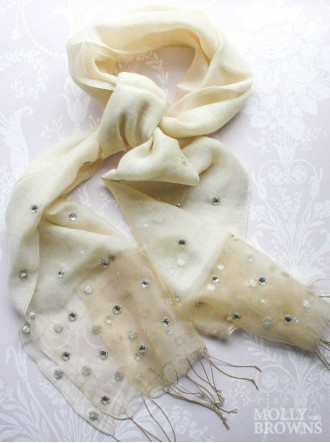 Sequinned Scarf - Cream & Gold