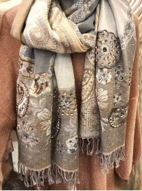 Beige/ Grey Embellished Sequin Scarf