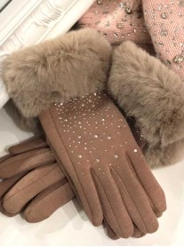 Faux Fur Sparkly Gloves - Camel