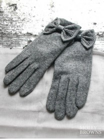 Embellished Bow Gloves - Charcoal