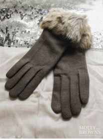 Faux Fur Gloves - Brown