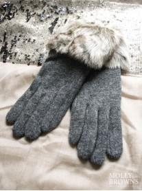 Faux Fur Gloves - Charcoal