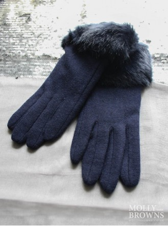 Faux Fur Gloves - Navy