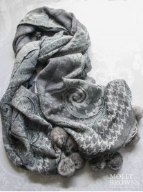 Faux Fur Pom Pom Beaded Scarf - Silver