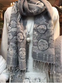 Grey Embellished Scarf