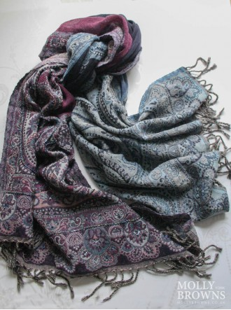 Paisley Pattern Scarf - Purple & Turquoise