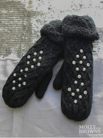 Pearl & Diamante Cable Mittens - Black