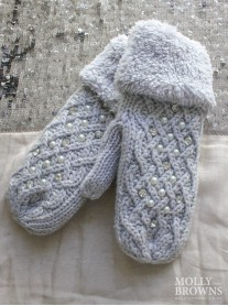 Pearl & Diamante Cable Mittens - Grey