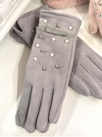 Embellished Bow Gloves - Grey