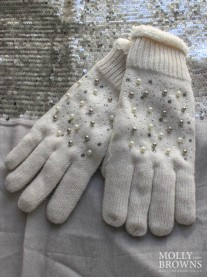 Pearl & Diamante Wool Cuffed Gloves - Cream